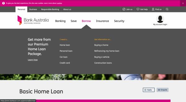 Bank Australia - Basic Home loan up to $2 000 000