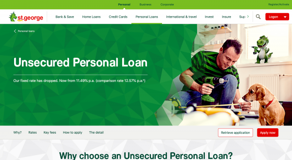 St.George Bank - Personal loan up to $80 000
